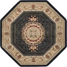 tayse rugs sensation black 5 ft traditional octagon area rug