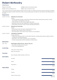 Amazon Resume Tips Warehouse Resume Sample And Complete Guide 20 Examples