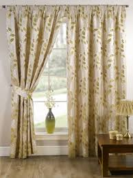 stylish pencil pleat tape top lined flower pattern pair of curtains lime green cream colour