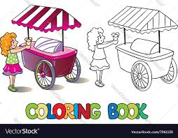 with ice cream coloring book vector image