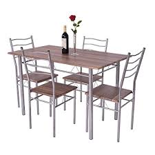 giantex modern 5 piece dining table set for 4 chairs wood metal kitchen breakfast furniture
