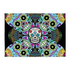 skull rugs sugar area indoor outdoor rug crochet pattern