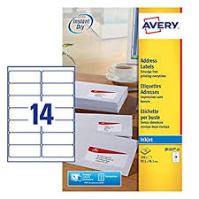 Avery Self Adhesive Address Mailing Labels Inkjet Printers 14 Labels Per A4 Sheet 350 Labels Quickdry J8163 White