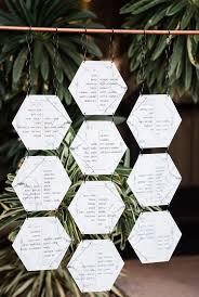 Hexagon Seating Chart Modern Chic Black And White Wedding With A Splash Of Color