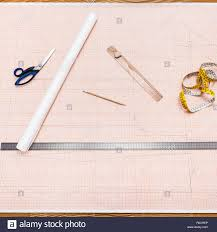 Objects To Draw A Clothing Pattern On Graph Paper Stock Photo