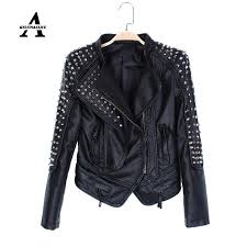 2018 black leather jacket women punk rivets studded motorcycle spiked pu streetwear leather jackets cazadora cuero mujer from keviny 144 27 dhgate com