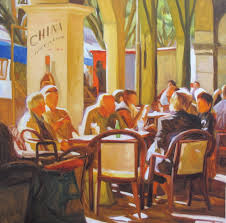 italian cafe paintings viewing gallery