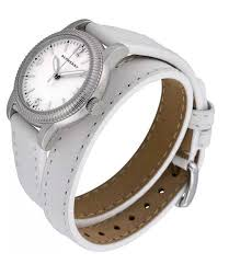 burberry utilitarian white dial leather wrap strap las watch bu7846 30mm new