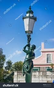 Woman Sculpture Light Street Lamp Interesting Sculpture Woman Lisbon Stock Photo
