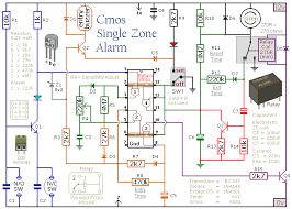 build this simple cmos based single zone burglar alarm project a schematic diagram of a cmos based single zone burglar alarm