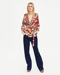 zara woman combined office. Image 1 Of WRAP BLOUSE WITH CONTRASTING PRINT From Zara Woman Combined Office R