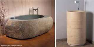 Stone Forest and Natural Stone upright bath
