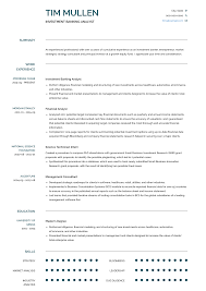 Investment Banking Resume Samples Templates Visualcv