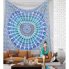 blue sea green bohemian wall tapestry hippy bedding dorm hanging beach throw mandala