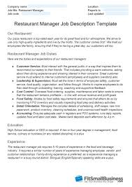 Customers Service Job Description Restaurant Manager Job Description Free Template