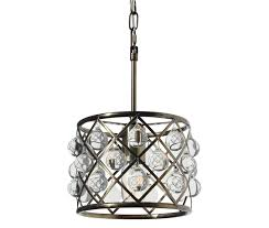 cassiel mini drum crystal chandelier antique brass
