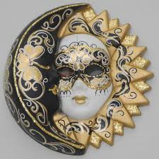 Decorative Venetian Wall Masks decorative wall mask Moon and Sun M black white golden 19