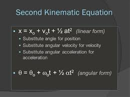 8 second kinematic equation x x o v o t ½ at 2 linear form substitute angle for position substitute angular velocity for velocity