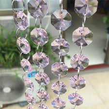 lovely pink 100meters 14m chandelier crystal octagon beads hanging chain door window home decoration wedding