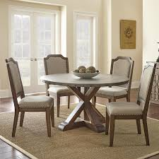 zinc dining room table. Steve Silver Wayland Zinc Top Round Dining Table In Driftwood Room