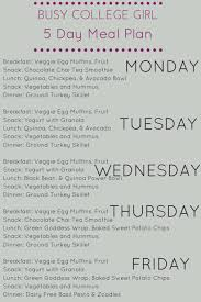 Busy College Girl 5 Day Meal Plan Lean Clean Brie
