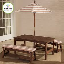 KidKraft Outdoor Table U0026 Bench Seat With Umbrella  Cubby U0026 Play Childrens Outdoor Furniture With Umbrella
