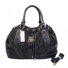 Coach Drawstring Logo Monogram Large Black Totes BKO