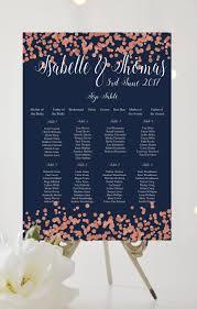 Navy Dark Rose Gold Confetti Printed Personalised Wedding