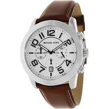 michael kors men s mercer mk8323 brown leather quartz watch michael kors men s mercer mk8323 brown leather quartz watch white dial
