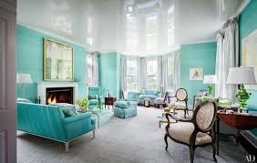 BlueGreen Painted Room Inspiration Photos Architectural Digest Magnificent Blue Living Rooms Interior Design