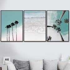 Coconut <b>Palm Tree</b> Pink Beach Sea Umbrella Wall Art Canvas ...