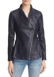 peplum back leather moto jacket via spiga