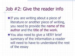 essay writing lesson writing introduction paragraphs for  job 2 give the reader info if you are writing about a piece of