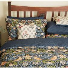 william morris strawberry thief super king duvet cover indigo