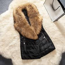 plus size 3xl winter women leather vest faux fur collar waistcoats long sleeveless jackets coats pocket colete feminino