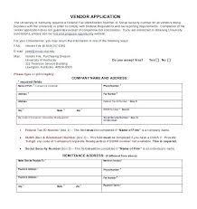 New Vendor Setup Form Template Contact Information Excel