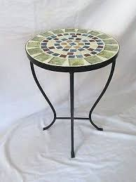 decoration round metal accent table end side indoor outdoor bistro small patio mosaic top rankin