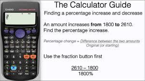 how to find a percentage increase decrease on calculator formula casio fx 83gt fx 85gt plus you