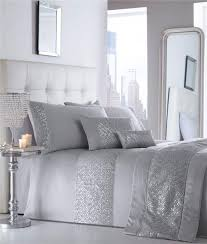 luxury duvet sets grey or white silver sequin
