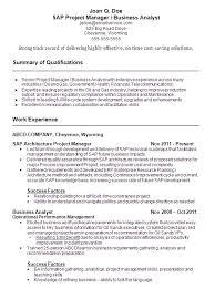 Project Analyst Sample Resume for Sap Program Manager Resume