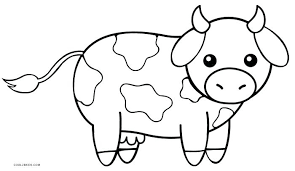 Farm Animal Coloring Pages Free Printable Baby Cartoon Cow Page