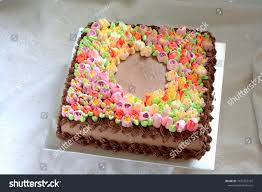 Square Chocolate Cake Chocolate Ganache Cream Stock Photo Edit Now
