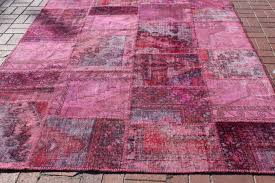 turkish overdyed patchwork rug 197 x 256 cm