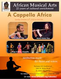 """AfriClassical: """"A Cappella Africa"""" flutes and voices performed by Matt  Allison and Wendy Hymes as well as our very own Songs of Africa Ensemble 3  PM, Sun., Oct. 11, 2015"""