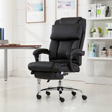 belleze executive reclining office chair high back pu leather footrest armchair recline w pillow