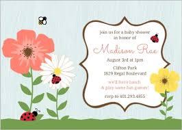 woodgrain flower garden ladybug baby shower invitation