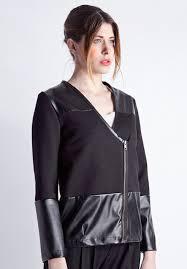 stma black faux leather jacket sweatshirt