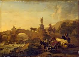 italian landscape with a small bridge berchem nicolaes pietersz oil painting