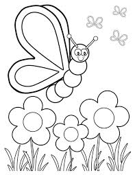 Spring Butterfly And Three Spring Flower Coloring Page The