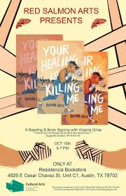 book signing flyer your healing is killing me a reading book signing flyer red